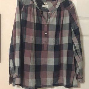 Loft long sleeve Henley style blouse